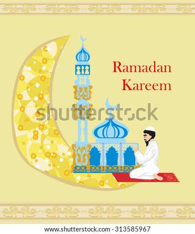 abstract religious background - muslim man praying - stock vector
