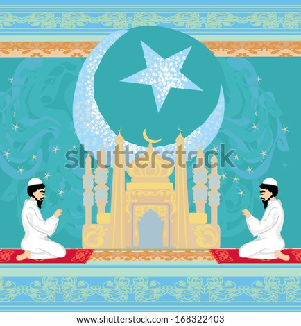 abstract religious background - muslim men praying - stock vector