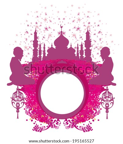 abstract religious frame - muslim man praying  - stock vector