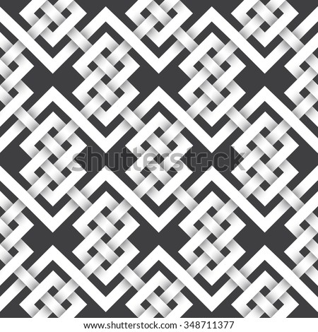Abstract repeating pattern background of white twisted strips. Swatch of intertwined zigzag and knotting lines. Seamless pattern in celtic style with volume effect. - stock vector
