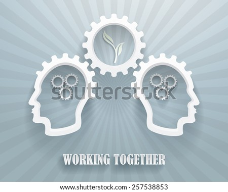 Abstract representation of a brainstorming workgroup. Two heads with cogwheels on a blue background. - stock vector