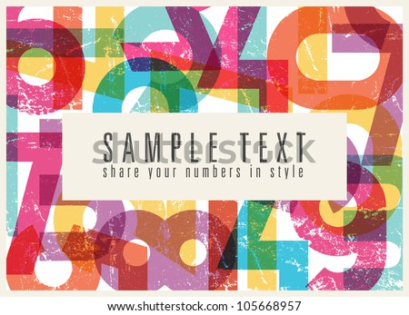 Abstract retro background with colorful numbers - stock vector