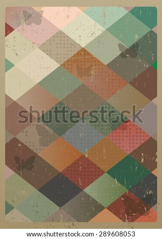 Abstract retro geometric background with butterflies. Vector Illustration - stock vector