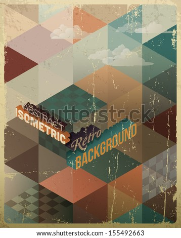 Abstract Retro Geometric Background with clouds - stock vector