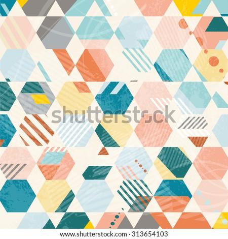 Abstract Retro Geometric hexagonal pattern. Vector Illustration - stock vector