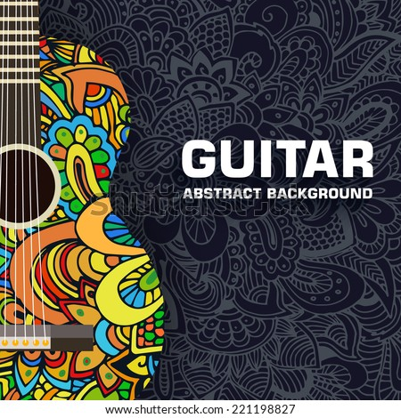 Abstract retro music guitar on the background of the ornament. Vector illustration concept design - stock vector