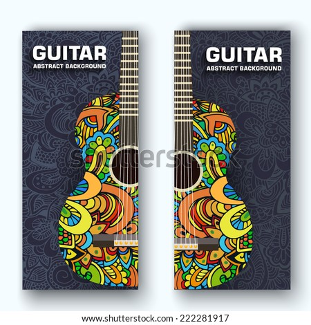Abstract retro music guitar on the banners of the ornament. Vector illustration concept design - stock vector