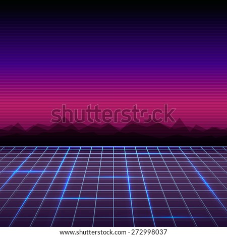 Abstract retro 80's sci-fi background - stock vector
