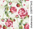 Abstract retro Seamless peony wallpaper pattern. Elegance background, vector illustration - stock vector
