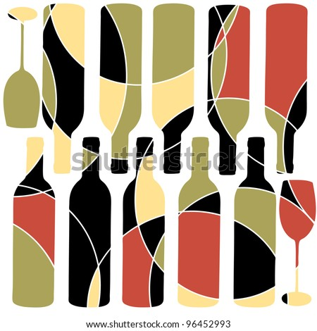Abstract retro style wine background - stock vector