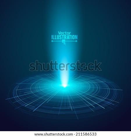 Abstract retro technology circles vector background. - stock vector