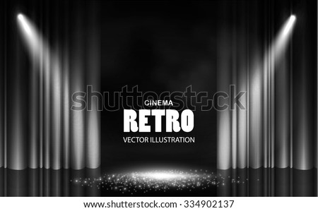 Abstract Retro Template with Spotlights, Stage Curtain & Shining floor. Empty Scene. Vector illustration  - stock vector