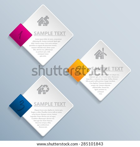 Abstract rhomb infographic design with icons and description - stock vector