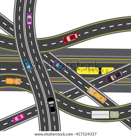 Abstract road junction. The intersections of various roads. Transport. Vector illustration - stock vector