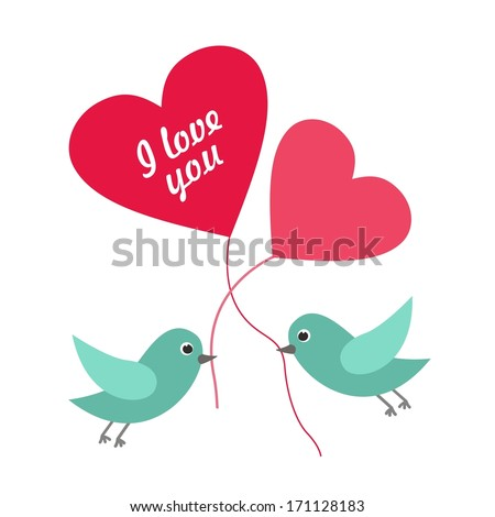 Abstract romantic concept with the birds. Vector background - stock vector