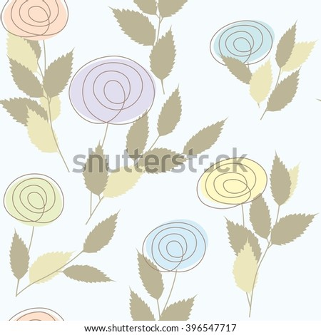 Abstract rose seamless pattern background - stock vector