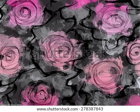 Abstract roses brush strokes background. Vector version - stock vector