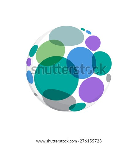Abstract round dots logo, vector template for your design. - stock vector