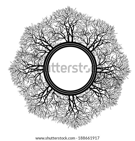 Abstract round frame of the branches of the tree. Vector  - stock vector