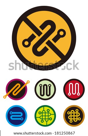 """Abstract round logo element. Colorful digital icon set.  """"s"""", """"n"""", """"m"""", """"w"""", """"z"""", """"o"""" letters icon set. You can use in the machine, chips, electronics and communication concept of pattern.  - stock vector"""