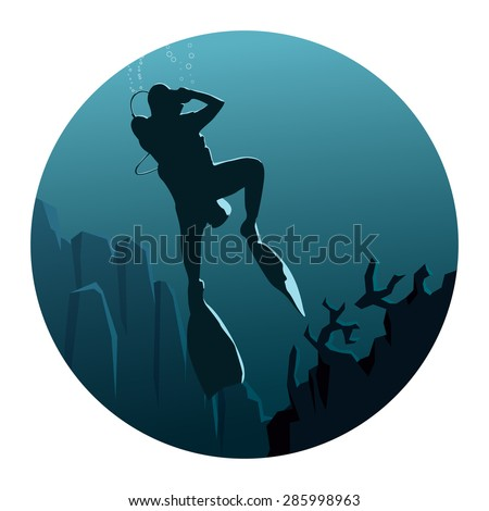 Abstract round logo of illustration of scuba divers under water in dark blue tone. - stock vector