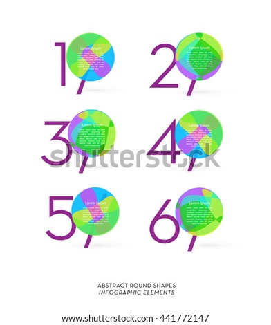 ABSTRACT ROUND SHAPES IN VARIOUS COLORS WITH NUMBERS  - stock vector