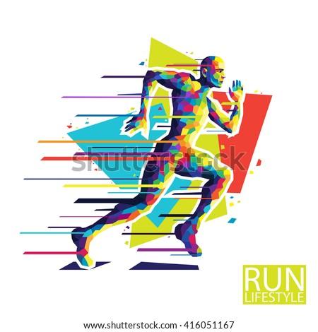 Abstract running man. Style wpap. Vector illustration. - stock vector