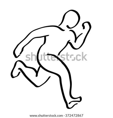 Abstract running man symbol. Winner runner logo illustration. Movement graphics - stock vector
