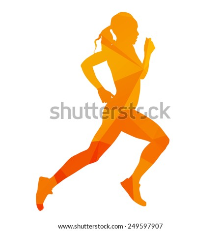 Abstract running woman - stock vector
