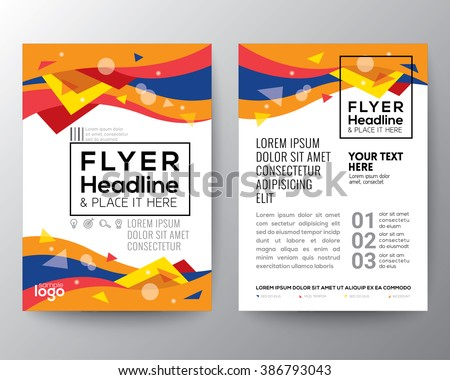 Abstract 80's style Triangle curve wave shape background for Poster Brochure Flyer design Layout vector template in A4 size - stock vector