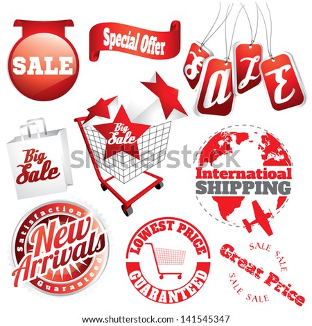 abstract sale items (detailed and shaded) with shopping carts and shopping bags and sale labels - stock vector