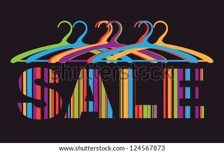 Abstract sale poster with text and hangers. Vector image. - stock vector