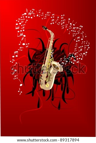 Abstract saxophone - stock vector