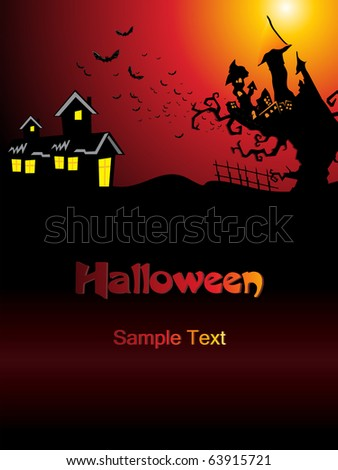 abstract scary halloween background, vector illustration - stock vector