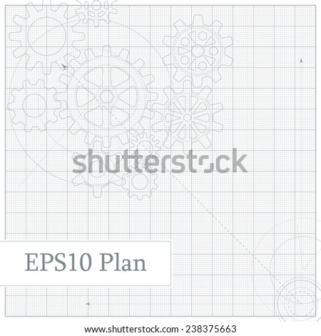 Abstract scheme depicting various gears on graph grid - stock vector