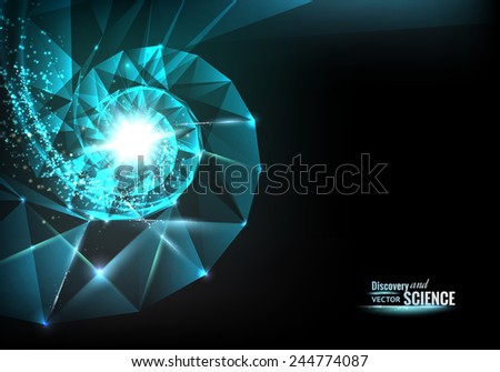 Abstract science design with spiral polygons and triangles. Vector illustration. - stock vector