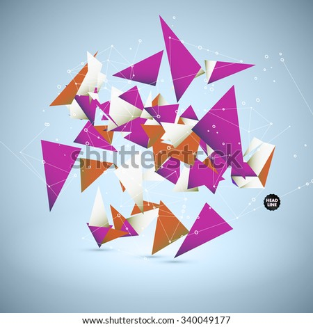 Abstract Science Vector Background. Geometric Polygonal Shape. Connecting Dots and Lines Structure   - stock vector