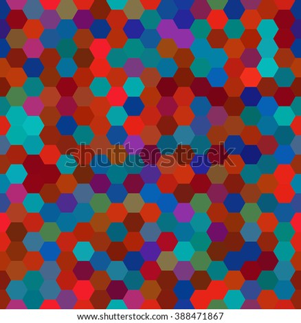 Abstract seamless background consisting of hexagons. Geometric design for business presentations or web template banner flyer. Vector illustration.  Red, brown, blue colors.  - stock vector