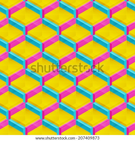 Abstract seamless background vector pattern texture made of cmyk colored glossy blocks - stock vector
