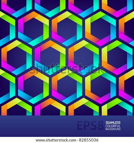 Abstract seamless background with colorful hexagons - stock vector