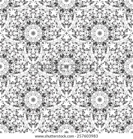 Abstract Seamless Black and White Color Geometric Vector Pattern. Vintage Wallpaper Background. Mosaic Texture for Textile Print - stock vector