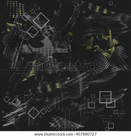 Abstract seamless chaos pattern for boys.  Creative dark background for textile, backpack, clothes, fabric and other. Squares and splash elements on dirty wallpaper. Grunge modern pattern for guys. - stock vector