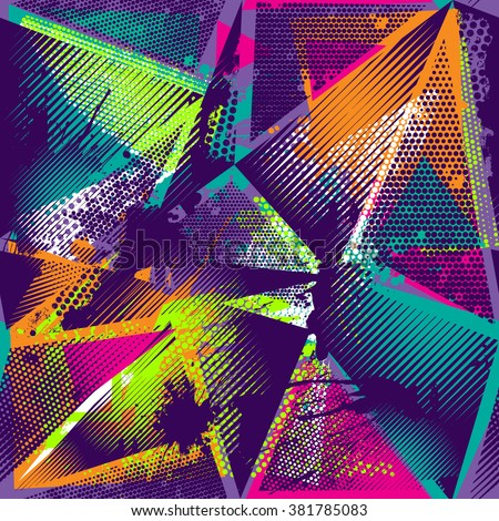 Abstract seamless chaotic pattern with urban geometric elements, scuffed, drops, sprays, triangles. Grunge neon texture background. Wallpaper for boys and girls - stock vector