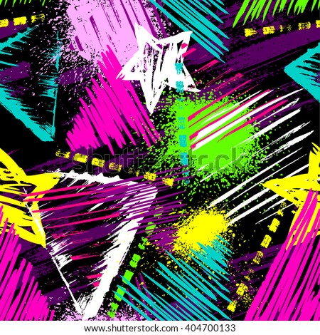 Abstract seamless chaotic pattern with urban geometric elements, scuffed, drops, triangles, stars, sprays Grunge neon texture background. Wallpaper for boys and girls - stock vector
