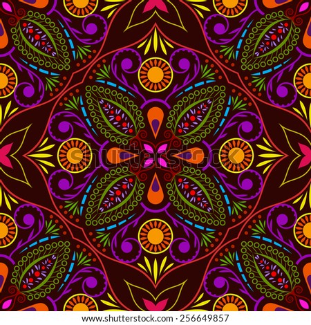 Abstract seamless colorful flower vector pattern. - stock vector