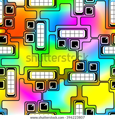 Abstract Seamless Composition. Futuristic Heads of Robots on a Motley Background. Mesh gradient and Transparency was Used. EPS-10. - stock vector