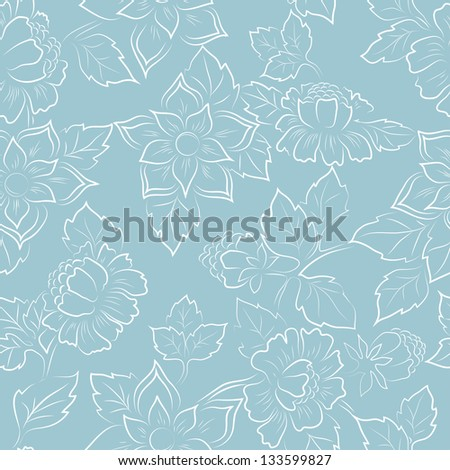Abstract seamless floral pattern fabric - stock vector