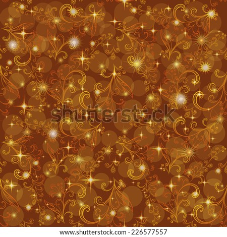 Abstract seamless floral pattern, symbolical outline orange and yellow flowers on background with circles and stars. Eps10, contains transparencies. Vector - stock vector