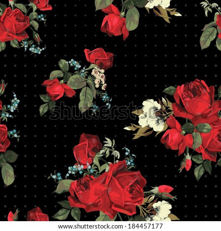 Abstract seamless floral pattern with of red  roses on black background. Vector illustration. - stock vector