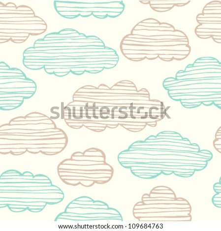 Abstract seamless gentle pattern with clouds. Colorful stylized hand drawn cloudy sky texture on light background - stock vector